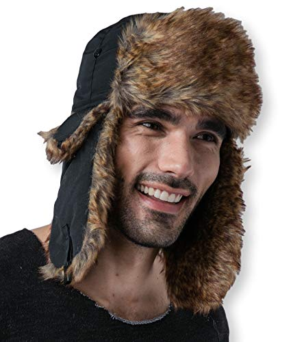 Trapper Hat with Faux Fur & Ear Flaps - Winter Trooper Headwear Ushanka Aviator Russian Hat - Fits Men & Women -