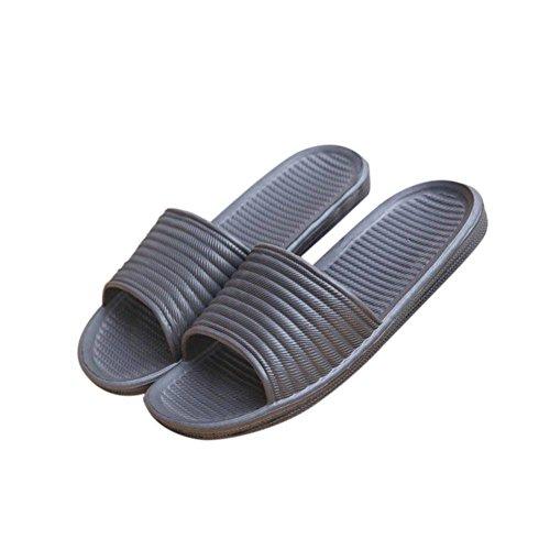 ESHOO Hombres antideslizante de la casa sandalia zapato de baño Interior suelo, plástico, azul oscuro, Asia 41 Gris