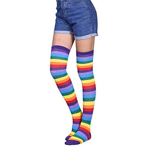 Womens Rainbow Stripe Knee Thigh High Socks,BAPAR Long Tube Boot Leg Stockings 1 (Rainbow Thigh High Tights)