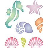 """Ocean Stencil (size: 5""""w x 6""""h) Reusable Sea Shell Nautical Seashore Reef Stencils for Painting - Use on Paper Projects Walls Floors Fabric Furniture Glass Wood etc."""