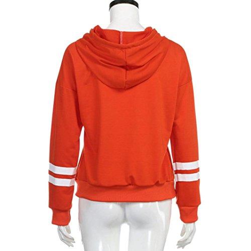 Tefamore Mujeres de manga larga de Halloween Sudadera con capucha Jumper Hooded Pullover Tops Blusa Naranja
