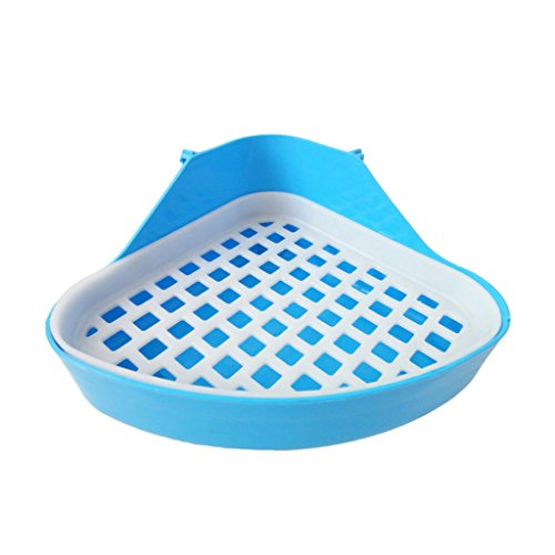 Pet Cat Rabbit Toilet Small Animal Potty Bowl Clean Litter Trays Corner Training Blue