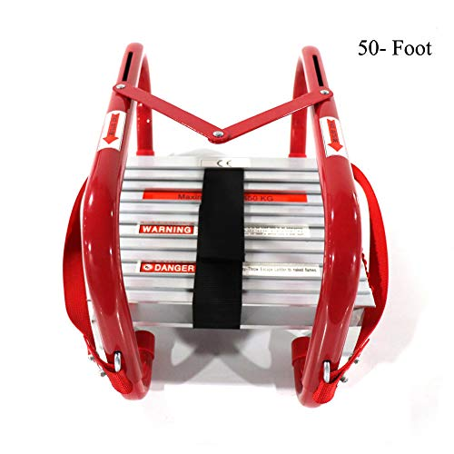 Ladder Rescue - Portable Fire Ladder 5 & 6 Story Emergency Escape Ladder 50 Foot with Wide Steps V Center Support