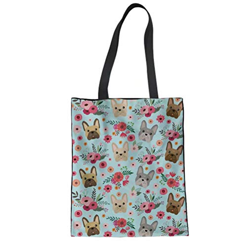SANNOVO Fashion French Bulldog Floral Print Women Canvas Shoulder Bag Tote Bag