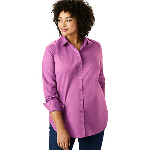 Woman Within Women's Plus Size Perfect Button Down Shirt - Rose Bud, 5X