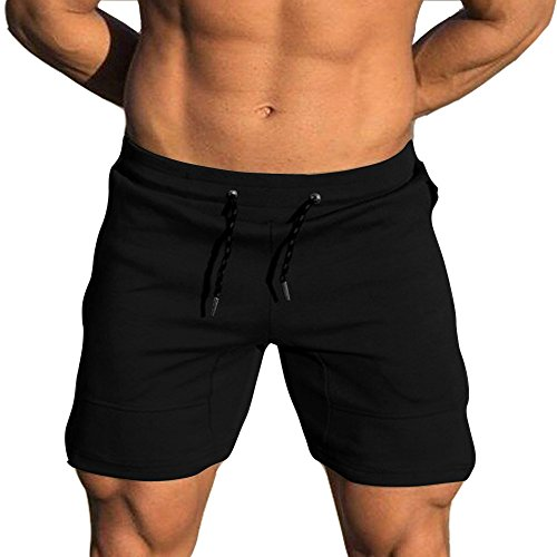 EVERWORTH Men's Solid Gym Workout Shorts Bodybuilding Running Fitted Training Jogging Short Pants with Zipper Pocket Black XXL