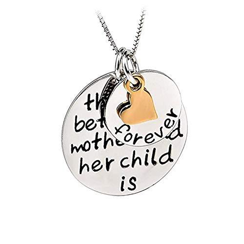 (YFN 925 Sterling Silver Mom Child's Love Family Message Engraved Jewelry Heart Pendant Charm Necklace)