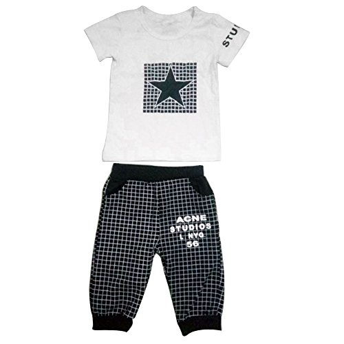 ink2055 Toddler Baby Boys Star Short Sleeve T-Shirt Top + Plaid Cropped Pants Outfit (Cropped T-shirt Shorts)