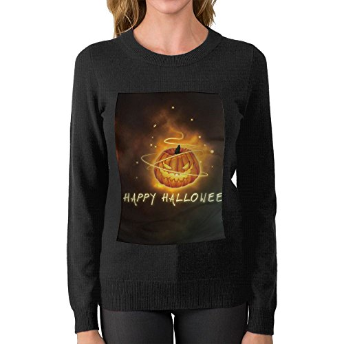 Women's Happy Halloween Magical Pumpkin Casual Sweater Best Personality\r\n Graphic Crew Neck