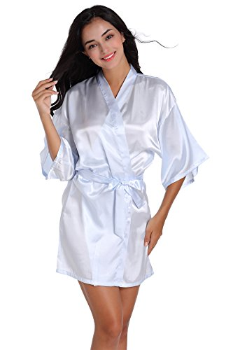 SexyTown Women's Short Satin Lounge Robes Bridesmaids Charmeuse Lingerie Sleepwear (Medium, Light Blue)