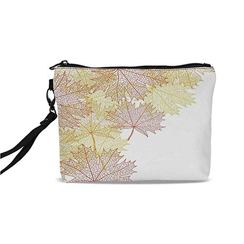 Leaves Simple Cosmetic Bag,Pattern with Maple Tree Fall Leaves Skeleton Dried Golden Forms Halloween Decoration Decorative for Women,9