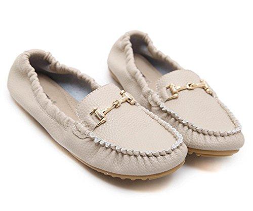 Sfnld Womens Stylish Toe Slip On Flats Pumps Shoes Albicocca