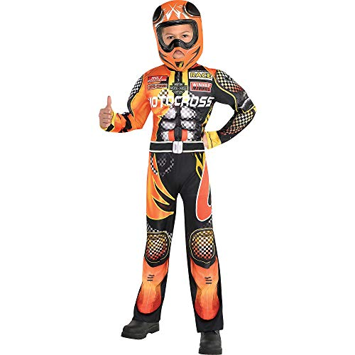 Suit Yourself Motocross Driver Costume for Boys, Size Small, Includes a Black and Orange Jumpsuit and a Racing Helmet -