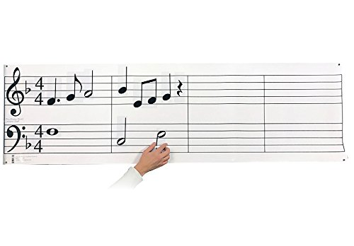 Dry Erase Music Staff Laminated Poster PLUS Hangable Music Note & Symbol Set ()