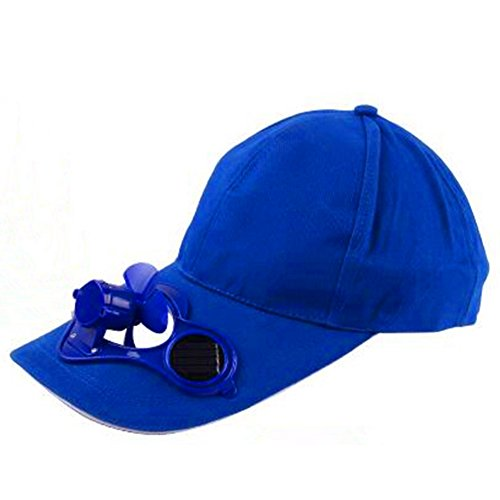 Dodgers Fan Costume (Peaked Cap Hat Summer Baseball Hat with Solar Powered Fan Cooling Fan Cap for Camping Traveling Outdoor Activities Blue)