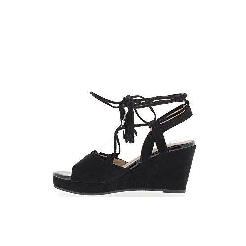 Sandalias negro compensan a las mujeres en tacones de 8,5 cm con cordón