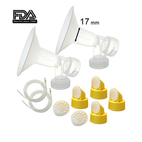 Maymom Breast Pump Kit for Medela Pump in Style Pumps; 2x Breastshields, 4 Valves, 6 Membranes, & 2 Pump-in-Style Tubing; (17 mm (XX-small))