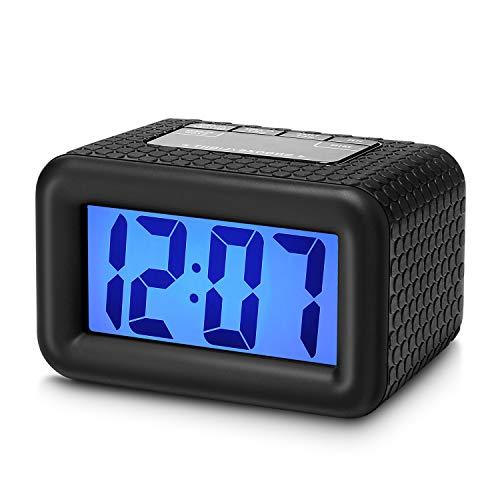 Plumeet Digital Alarm Clock with Snooze and Nightlight, Large LCD Display Travel Alarm Clocks, Ascending Sound Alarm and Handheld Sized, Good for Kids (Black)