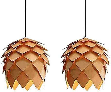 KIRIN Pendant Hanging Light Fixture Lamp Wood Artichoke Creative Modern Chandeliers Hand Craft Pine Cone Contemporary Style E26 for Bar Restaurant Light Living Room 9.84 Inch 2 Pack