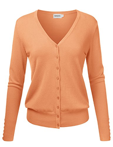 (NINEXIS Womens Basic Long Sleeve V-Neck Button Down Knit Cardigan Sweater LIGHTORANGE XL )