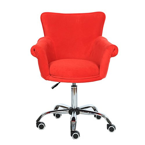 Magshion Deluxe Microfiber Office Desk Chair Bar Stool Beauty Nail Salon Spa Vanity Seat (Red)
