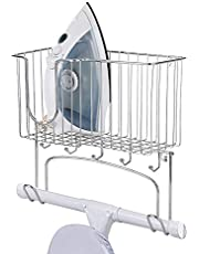 Pilvnar Wall-Mounted Ironing Board Holder Iron Rack Storage Basket for Holding Iron and Ironing Board
