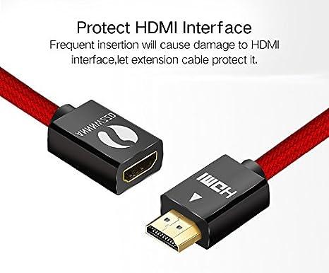 Mini HDMI zu HDMI 19Pin geflochten 1080p 3D HD TV Xbox One PS3 PS4 1.5m Gold