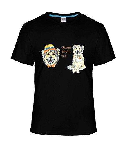 [Eagle u2 Men's comfort short sleeve Caucasian Shepherd Dog black] (Mens Disco Jumpsuit)