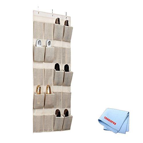 20 Pocket Hanging Shoe Organizer/Caddy In Beige/Faux Jute + Tronixpro (20 Pocket Shoe)
