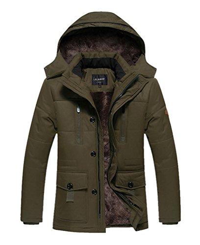 Vcansion Men's Ourdoor winter Thickening Windbreaker Removable Hood Jacket Coat Coffee XL