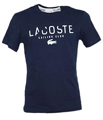 4cf6b3edd5 Lacoste T pour Homme col Ras du Cou pour Homme Bleu Marine Logo Top - Bleu
