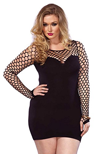 Leg Avenue Women's Plus Size Seamless Mini Dress with Diamond Net Bodice and Sleeves, Black, One Size (Diamond Dresses For Women)