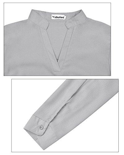 Chemise Tunique Longue Mode Robe Longues Manches Casual Gris Femme Yidarton xA408Pq5w8