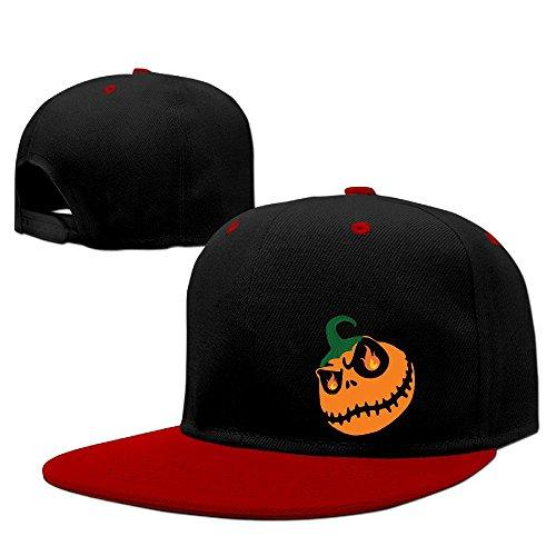 Halloween Pumpkin Hip Hop Baseball Caps Breathable Flat Bill Plain Snapback Hats Red (Table Topic Ideas For Halloween)