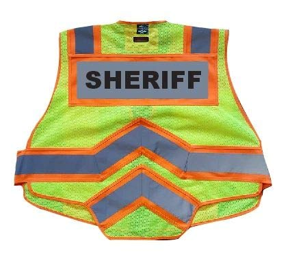 FIRE NINJA SHERIFF VEST-Class 2 Reflective - High Visibility Public Safety Vest - Bright Neon Reflective Colors - Double Breakaway Zipper - For ...