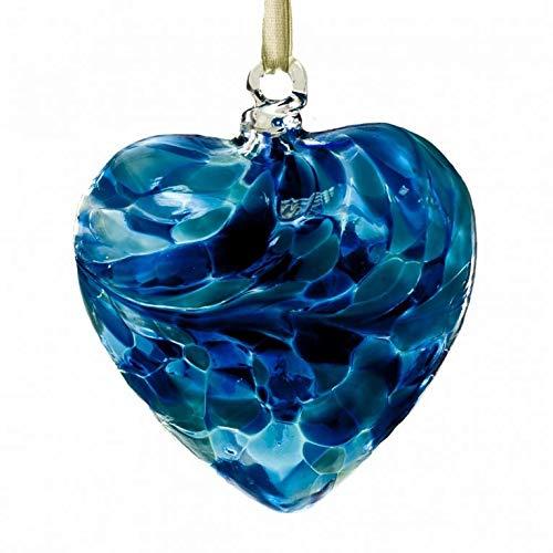 (December Turquoise 8cm Birthstone Glass Heart)