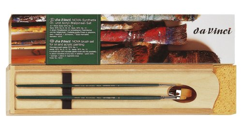 da Vinci Oil & Acrylic Series 5243 Nova Synthetic Paint Brush Set with Wood Mixing Palette, Multiple Sizes, 5 Brushes (Series 1670, 1870, 1875) (Vinci Da Nova)