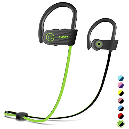 Bluetooth Headphones, Anbes Wireless Earbuds, IPX7 Waterproof Sports Earphones with Ear Hooks & Mic, HD Stereo in-Ear Headphones Gym Running Workout, 8 Hours Battery Noise Canceling Headsets