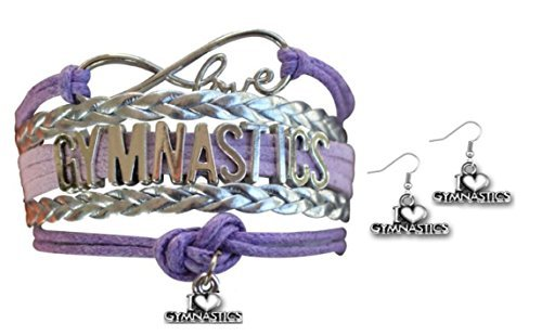 Gymnastics Jewelry Set- Girls Gymnastics Bracelet & Gymnastic Earrings - Perfect Gift For Gymnast by Infinity Collection