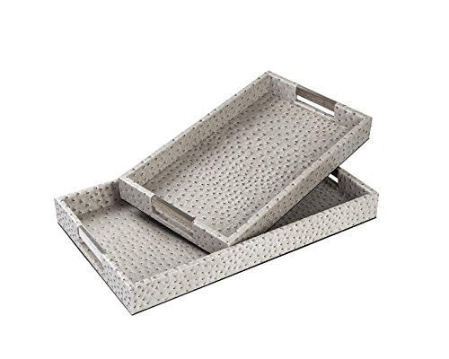 CC Wonderland Serving Tray with Handles, Ostrich skin Faux Leather, Set of 2, Rectangle - Gray, Decorative tray for Ottoman&Coffee Table