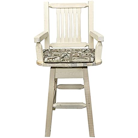 Montana Woodworks Homestead Collection Captain S Barstool With Back And Swivel Clear Lacquer Finish With Upholstered Seat Wildlife Pattern