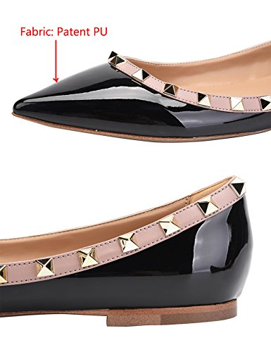 Camssoo Womens Classic Rivetti Punta A Punta Slip On Comfort Flats Dress Pumps Shoes Nero / Beige Patant Pu