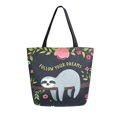 SUABO Sloth Canvas Tote Bag Large Women Casual Shoulder Bag Handbag, Reusable Shopping Grocery Bag for Outdoors