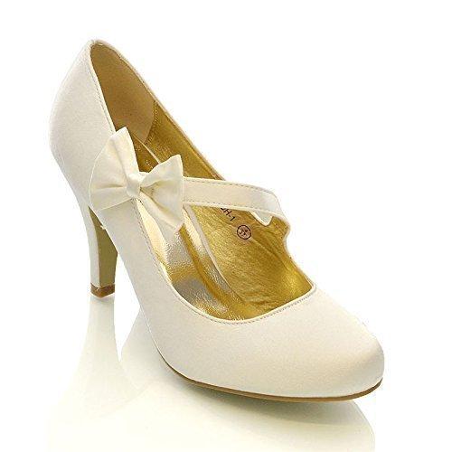 Essex Glam - Damen Braun Stiletto Pumps Weiß Elfenbein Satin Hochzeit Brautjungfer Schuhe - Satin, Elfenbein Satin, 3 UK / 36 EU / 5 US