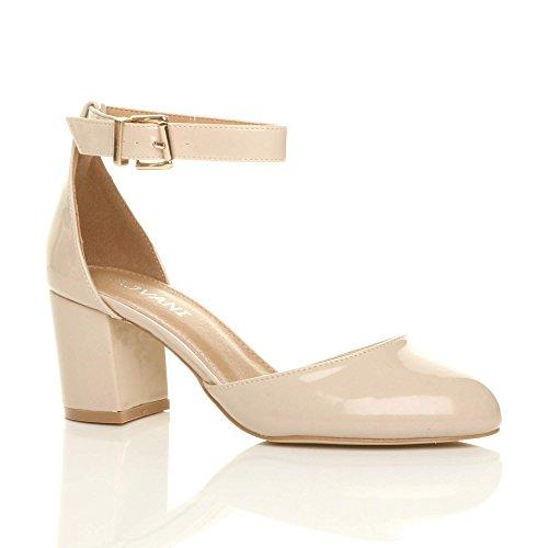 Sandals Mid Women Shoes Ajvani Size Nude Patent Court Pumps Heel qUffYF5