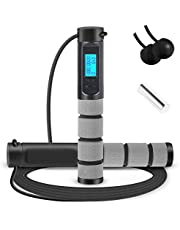 Jump Rope, Digital Weighted Handle Workout Jumping Rope with Calorie Counter for Training Fitness, Adjustable Exercise Speed Skipping Rope for Men, Women, Kids, Girls