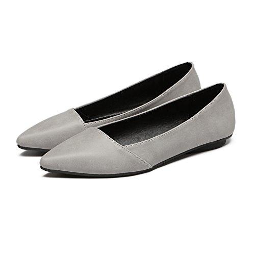 Xue Qiqi Stilvolle Tipp Flachen Schuh Mädchen Matt - Einzelne Schuhe Flache Damenschuhe mit Leichten kompakten und vielseitigen Freizeitschuhe 4