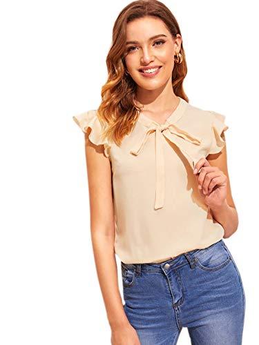 (WDIRARA Women's Fashion Tie Neck Ruffle Cap Sleeve Frill Solid Blouse Top Apricot S )
