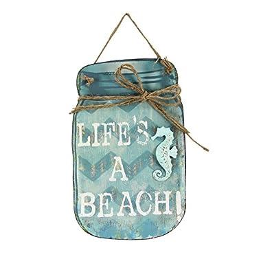 Young's Life's a Beach Tin Mason Jar Wall Sign, 15