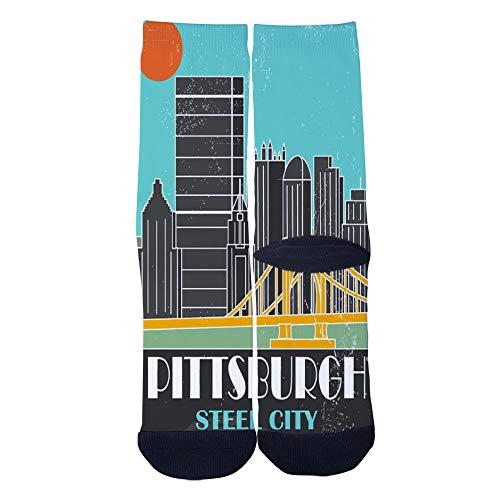 Mens Womens Casual Pittsburgh Steel City vintage travel posters Socks Crazy Custom Socks Creative Personality Crew Socks -